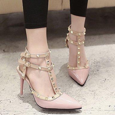 LFNLYX Donna Primavera tacchi Comfort brevetto Casual in pelle Stiletto Heel fibbia nero rosa rosso a piedi Pink
