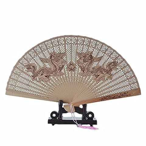Style chinois antique en bois de santal Imprimé femelle pliante Fan/ornement/accessoires (Dragon)