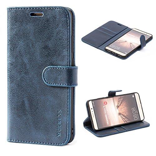 Mulbess Ledertasche im Ständer Book Case / Kartenfach für Huawei Mate 9 (5,9 Zoll) Tasche Hülle Leder Etui,Dunkelblau