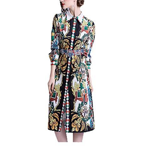 L.J.J Kleiden Damen Vintage Abstrakt Print Langarm Revers Kleid Maxikleid Kleid (Color : Black, Size : M) -
