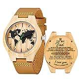 Reloj de Madera Cuero, MUJUZE Relojes de Brújula de Bambú Hecho a Mano Natural, Relojes de Pulsera de Hombres con Correa de Vaca Marrón,Embalado en Caja de Regalo (To My Dad)