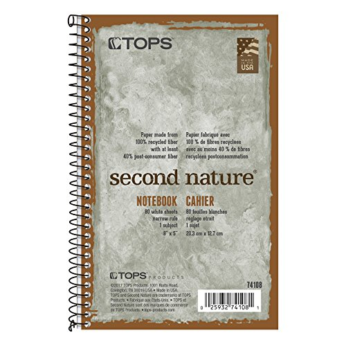 Tops Second Nature Notebook, Recycling, 12,7 x 20,3 cm, schmal, Rule, 80 Blatt pro Buch, grün (74108) (Tops Spiral Steno-bücher)