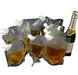 YISAMA Rum Runner Trinkbeutel Wiederverwendbarer Plastikflaschen Fuer Reisen Cruise-Likor Tasche Kit, Flexible, Identifizierbar, BPA Frei, Super Leicht (4X909 ml ,3x454 ml,2x227 ml,Trichter,Karabiner)