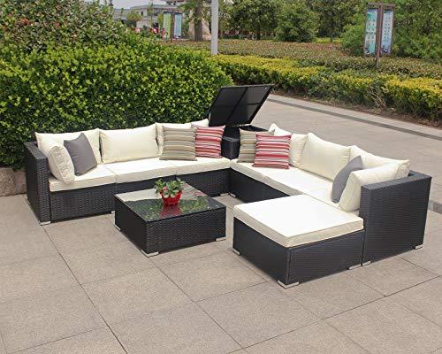 Gartenmöbel (Enjoy Fit Polyrattan Gartenmöbel Sitzgruppe Lounge Sitzgarnitur inkl. Sessel Sofa Tisch Hocker/frei erweiterbar! (1 x Ecksofa))