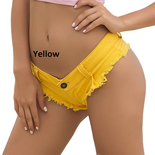 Bikini Und Low Rise Jeans (Junjiagao Sexy Denim Booty Shorts Löcher Bikini Sexy Jeans Shorts Low Rise Beach Short (Color : Yellow, Size : S))