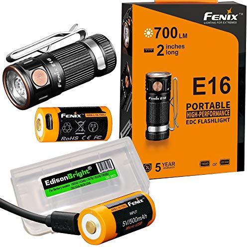 2 wiederaufladbare Batterien: Fenix E16 700 Lumen CREE LED EDC/Schlüsselanhänger, 2 x Fenix Batterien und EdisonBright Akku-Tragetasche. -