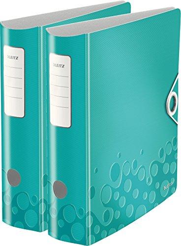Leitz Qualitäts-Ordner 180° Active WOW, A4, Runder Rücken, 8,2 cm Breite, Kunststoff, Gummibandverschluss (2er Pack, eisblau metallic)