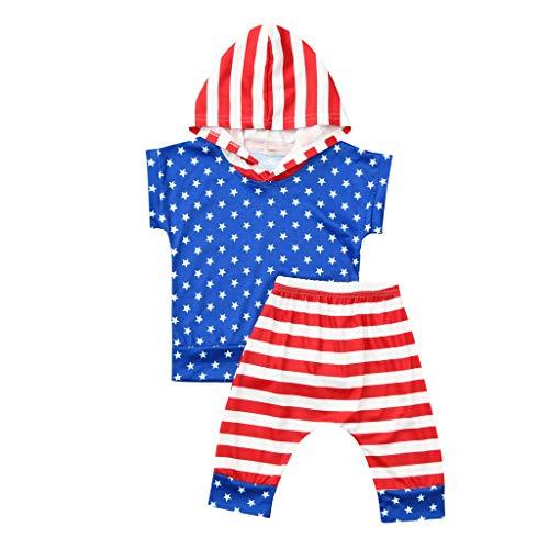 DQANIU ❤️❤️ kinderkleidung, 2 PCs Kleinkind-Baby 4. Juli Sterne und gestreifte patriotische Kapuzenoberteile ➕ Shorts Outfits ()