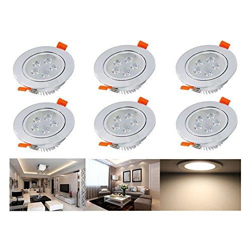 Hengda® Ultra Flach LED Einbaustrahler Warmweiß 5W 230V Einbauspots Badleuchten für den Wohnbereich, 6 Stück Einbauleuchten
