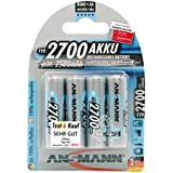 ANSMANN AA Rechargeable Batteries 2700mAh High-Capacity High-Rate Rechargeable NiMH AA Battery For Flashlight Etc. (4-Pack)