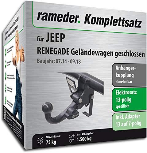 Rameder Komplettsatz, Anhängerkupplung abnehmbar + 13pol Elektrik für Jeep Renegade Geländewagen geschlossen (148479-13019-1)