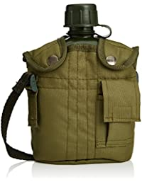 Relaxdays Feldflasche 1 Liter Armee Design mit 1,35 m langem Gürtel, Suppentasse aus Aluminium, isolierender Nylonbezug, Military Style Trinkflasche, Camping, Outdoor, HBT: 22 x 13 x 7 cm, grün