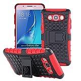 ECENCE Handyhülle Schutzhülle Outdoor Case Cover + Panzerfolie kompatibel für Samsung Galaxy J3 (2016) Duos Handytasche Rot 43040209