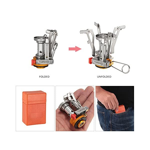 TOMSHOO Camping Stove/Backpacking Stove and windshield Backpacking Stove for Outdoor Hiking Picnic BBQ 3