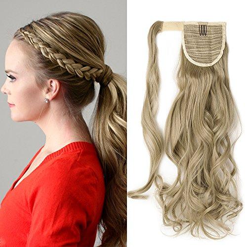 Ponytail Clip in Pferdeschwanz Extension Haarteil Haarverlängerung Zopf Hair Piece gewellt Wavy wie Echthaar Aschblond Mix Bleichblond Wavy-24