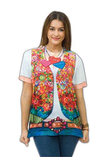 Mode Kostüm Jahren 1970er - Zoelibat 14017142.300.S - Damen T-Shirt Hippie Girl - Kurzarm, Größe S (36/38), Mehrfarbig