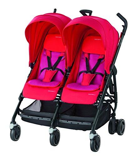 Bébé Confort Dana For2 Passeggino Gemellare Fratellare Compatto, Reversibile Reclinabile, Sedute Affiancate, Red Orchid