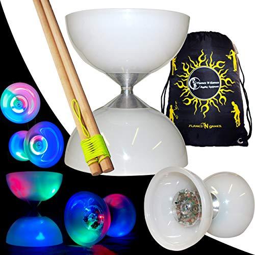 Unbekannt Lunar Spin LED Diabolo und Diablo Handsticks aus Holz mit Diabolo-String + Reisetasche! Professionelles, hochwertiges Diabolo (Wooden)