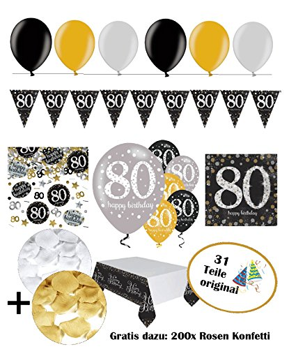 eburtstag I komplettes 31 Teile Deko Set gold schwarz silber mit Luftballons I Dekoration Party happy birthday 80 (80-party Dekorationen)