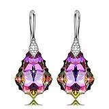 NINASUN Neon Neon 925 Plata Pendientes Aretes Mujeres Purpura Morado Cristales Swarovski Dia...