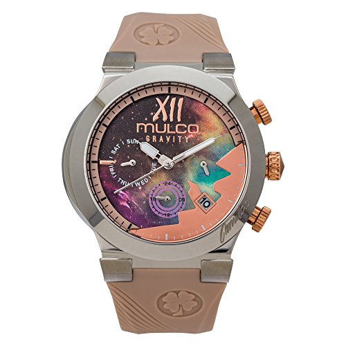 Mulco Gravity Galaxy Swiss Analog Chronograph Watch -Premium Multicolor Analog Sundial With Beige 100% Silicone Band- Rose Gold Accents- Water Resistant Stainless Steel -Women's MW5-4977-113