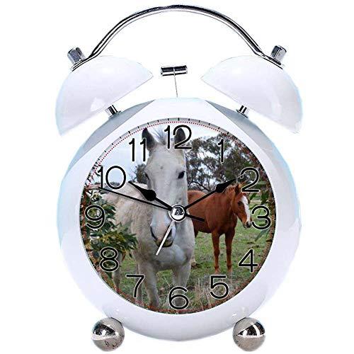 GIRLSIGHT Niedlicher Farbwecker, runde Pferdeschreibtischuhr mit Nachtlicht Peekaboo_Horses_Girls_Purple_Bows_Leder_ Schlafzimmer Dekorationen(Weiß) -