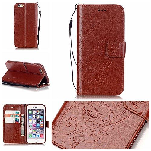 Für iPhone 6 Plus/6S Plus 5.5 Zoll Strap Lanyard Brieftasche Hülle,Für iPhone 6 Plus/6S Plus 5.5 Zoll Wallet Flip Schutzhülle Zubehör Handytasche Lederhülle Schutz,Funyye Premium Slim Elegant [Schmett Braun