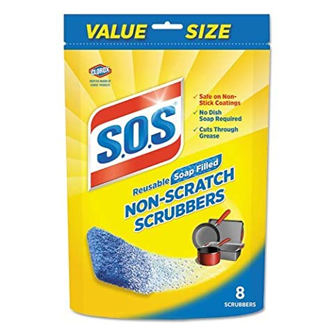 S.O.S. Non-Scratch Soap Scrubbers, Blue, 8/Pack by SOS