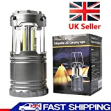 TeqHome - Lanterna da Campeggio a LED, Portatile, Torcia a LED Luminosa, Leggera, Pieghevole per emergenze, uragane, interruzione di Corrente, alimentata da 3 batterie AA (Non Incluse)
