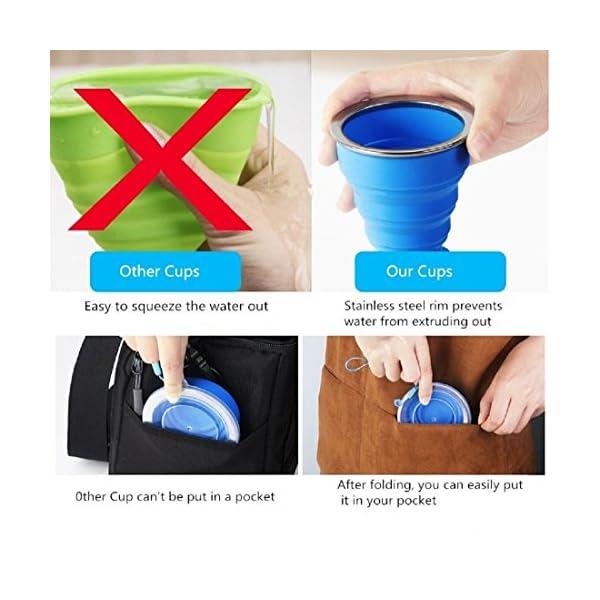2 pcs Tazas de Viaje 200ml de Silicona Plegable Portátil y Reutilizable,Vaso Con Tapa sin BPA para camping senderismo y… 4