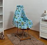 Velinda Bettwäsche-Set mit Baumwolle-Himmel +Moseskorb/Stubenwagen/Babykorb Kleine Räder (Muster: Eule_Blau)