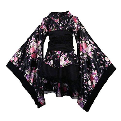 FENICAL Frauen Kirschblüten Anime Cosplay Lolita Kleid Japanischen Kimono Kostüm Kleider Kleidung Halloween Kostüm Größe S (Schwarz)