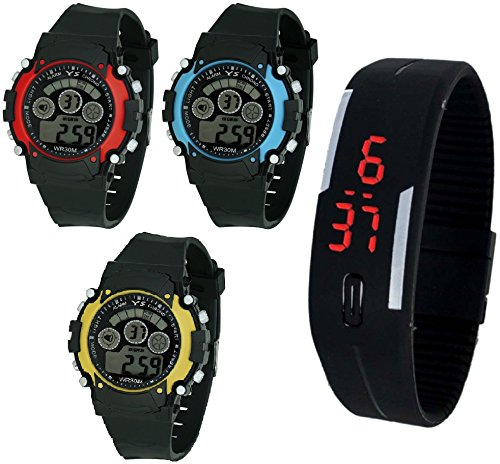 d51169452b14 Pappi Boss Sports Watch Collections - Pack of 4 Digital Red, Blue & Yellow  Dial Sports Watch with Unisex Silicone Digital Led Watch for Boys, ...