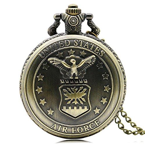 Taschenuhr Retro Neue Bronze Air Force Eagle Sterne Quarz Antike Anhänger Kette Taschenuhr Für Männer Und Frauen -