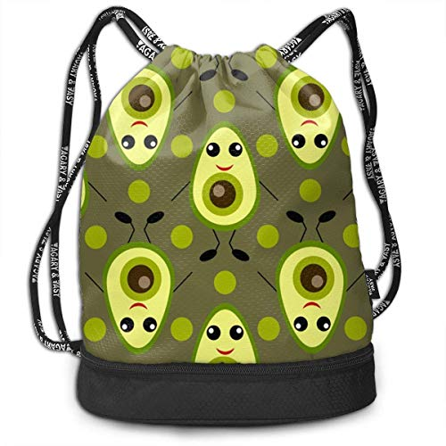 DHNKW Gym Drawstring Sports Bag Simple Quick Dry Bundle Backpack Avocado Cartoon -