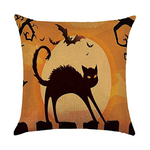 ARTOPB Halloween Cushion Covers Jack-O'-Lantern Witch Cat Painting 120g Thick Cotton Linen Double-Sided 18x18 inches 45x45cm Throw Pillow Cases for Home Sofa Bed Decorative