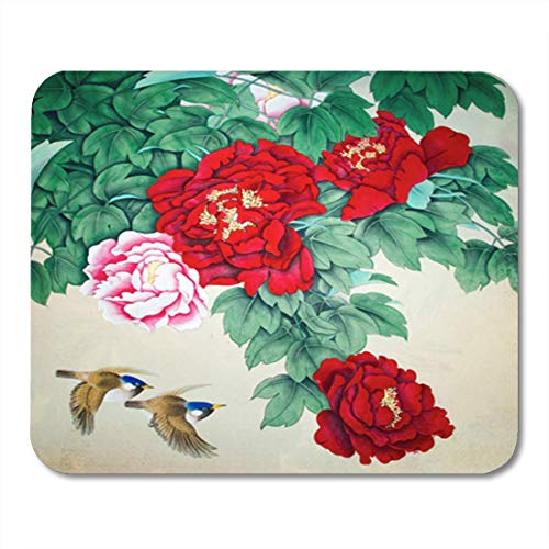 HOTNING Gaming Mauspads, Gaming Mouse Pad Watercolor Japanese Chinese Traditional Painting of Birds Leaves Blossom Brush 11.8