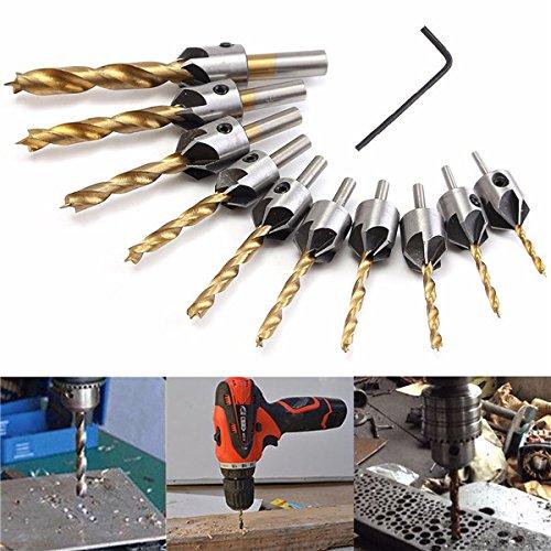 Rishil World 3-10mm HSS 5 Flute Countersink Drill Bit Set Carpentry Reamer Woodworking Chamfer Drill Bit