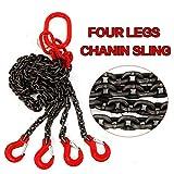 Cadena colgante, cadena de tope, 4 cuerdas, 8 mm con gancho de acortamiento 1,5 m T8 Level cadena cadena con gancho de cabeza de horquilla