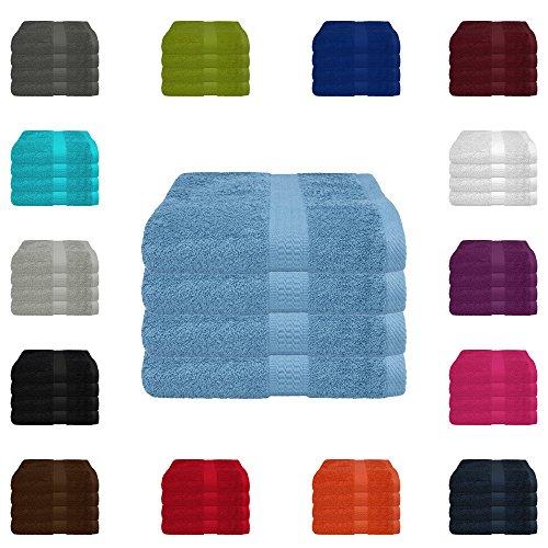 4 tlg. Handtuch-Set in vielen Farben - 4 Handtücher 50x100 cm - Farbe hellblau