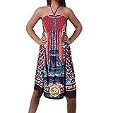 Diva-Jeans H919 Damen Sommer Aztec Bandeau Bunt Tuch Kleid Tuchkleid Strandkleid Neckholder, Größen:Einheitsgröße, Farben:T1023 Bordeaux