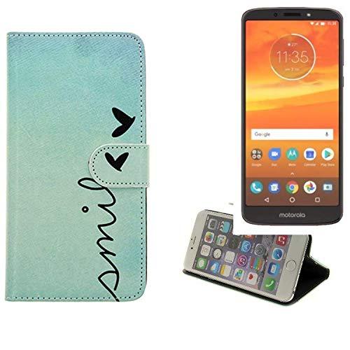K-S-Trade Für Motorola Moto E5 Plus Dual-SIM Hülle Wallet Case Schutzhülle Flip Cover Tasche bookstyle Etui Handyhülle ''Smile'' türkis Standfunktion Kameraschutz (1Stk)