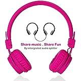 Wired Kinder Kopfhörer faltbarer Hifi Stereo mit Musik-Share Anschluss and Eingebaut kopfhörer splitter Mikrofon by Termichy (Rose)
