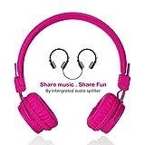 Écouteurs pour enfants avec ports de partage pour le partage de musique, TermichyÉcouteurs réglables sur l'oreille pour enfants avec contrôle de volume et câbles de microphone de 3,5 mm pour téléphones cellulaires Apple Android Smartphones ordinateurs Ordinateurs portables (Rose)
