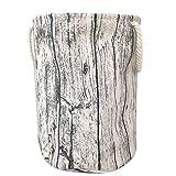 Funique' Tree Stump Cesta de tela para la colada con temática de bosque, cesta de la ropa sucia con 3 varillas de apoyo, cierre de cordón, asas de cuerda y forro de tela