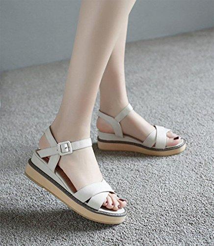 Xiaji croûte épaisse chanson gâteau chaussures plates confortables femmes de grande taille sandales Rome beige