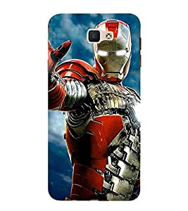 For Samsung Galaxy On Nxt red shield suit, shield suit, suit, man, blue background Designer Printed High Quality Smooth Matte Protective Mobile Pouch Back Case Cover by BUZZWORLD