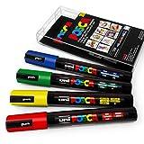 Uni Posca PC-5M Lot de 4 marqueurs à peinturedans une pochette en plastique- Couleurs primaires