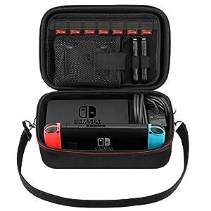 MoKo Nintendo Switch Tasche Storage Case, Reise Tragbarer Eva-Tasche mit großer Kapazität, Schutztasche Compartments für Nintendo Switch Konsolle Enthält 7 Spielpatronen, Schwarz