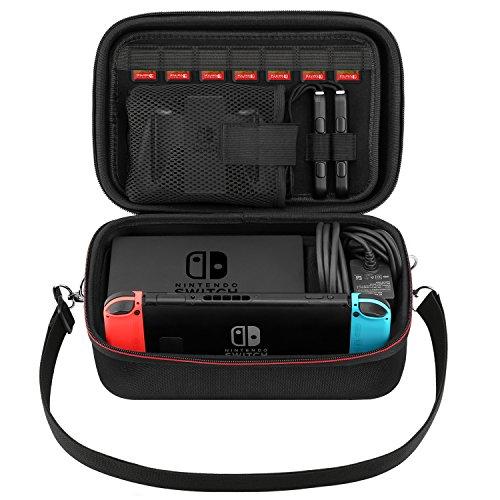 MoKo Funda para Nintendo Switch,Bolsa de Viaje EVA Portátil de Gran Capacidad, Compartimentos de Almacenamiento Protector para Consola con Nintendo Switch, Gamepad, Cargador y Cable - Negro